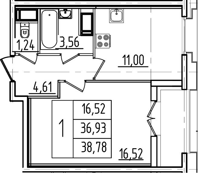 1-к.кв, 40.63 м²