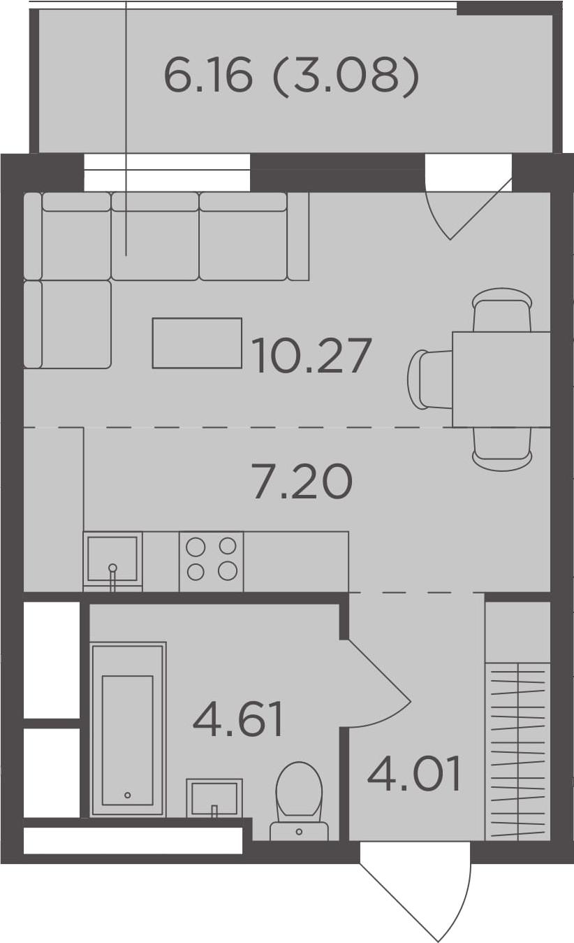 Студия, 29.17 м²