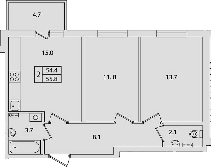 2-комнатная, 55.8 м²– 2