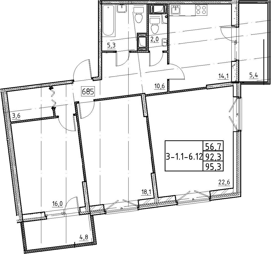 3-комнатная, 95.3 м²– 2
