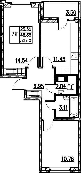 2-к.кв, 52.35 м²