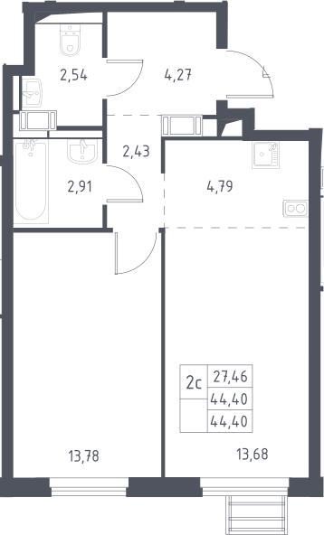 2Е-комнатная, 44.4 м²– 2