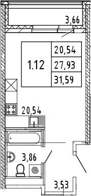 Студия, 31.59 м²