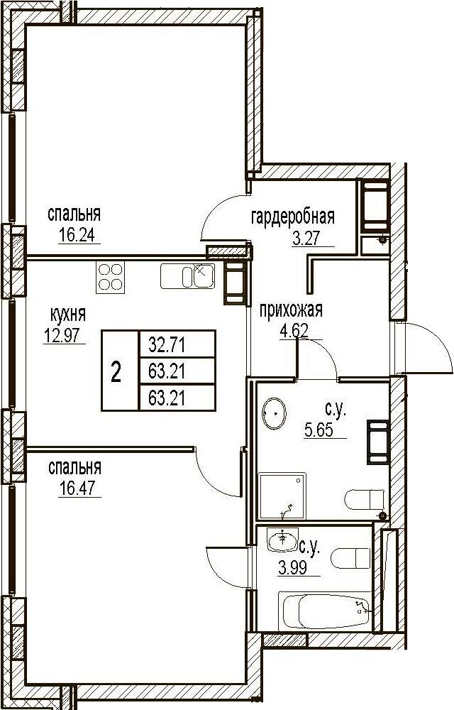 2-комнатная, 63.21 м²– 2