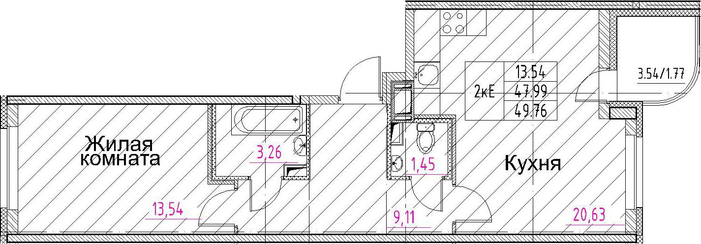2-к.кв (евро), 51.53 м²