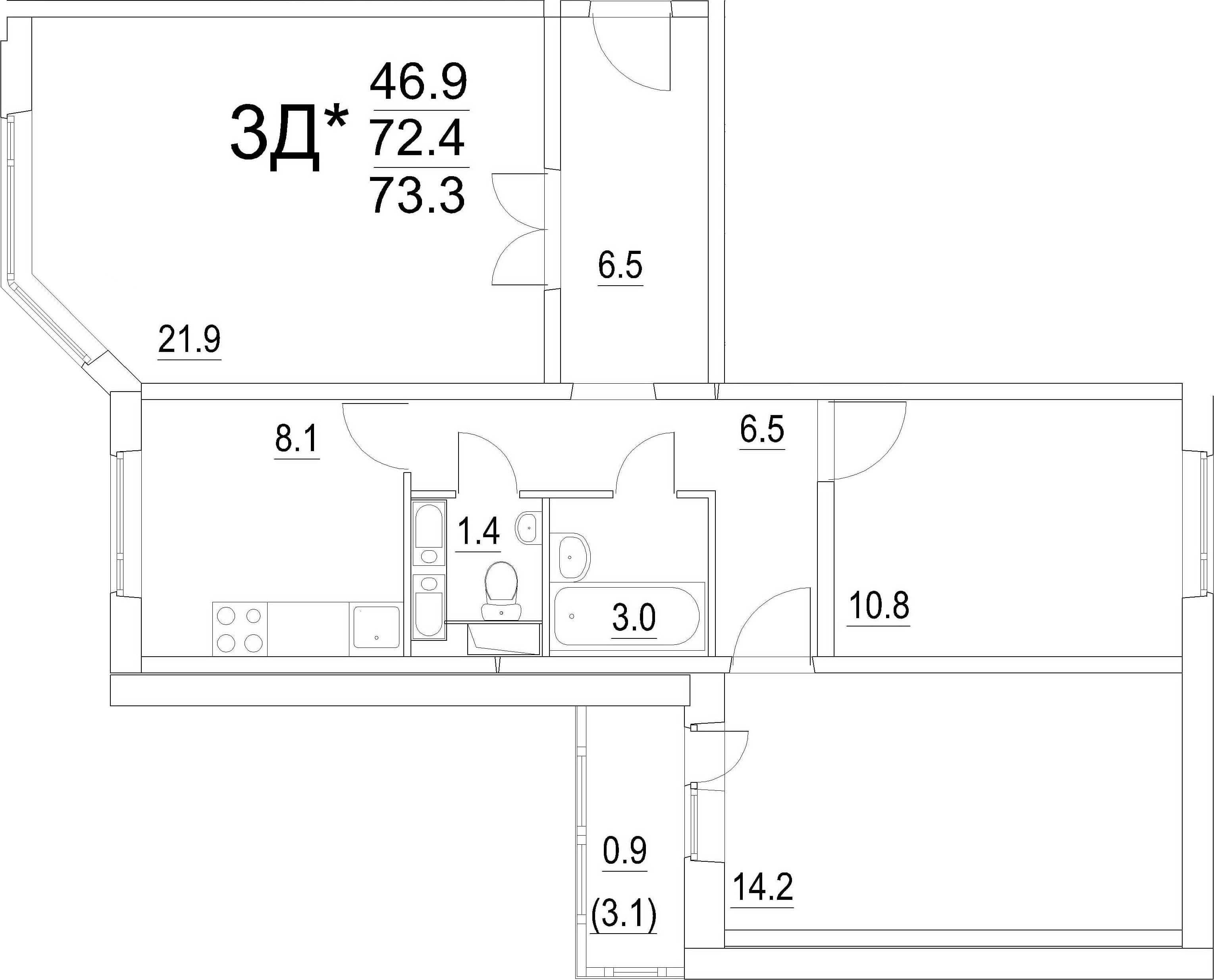 3-к.кв, 73.3 м²