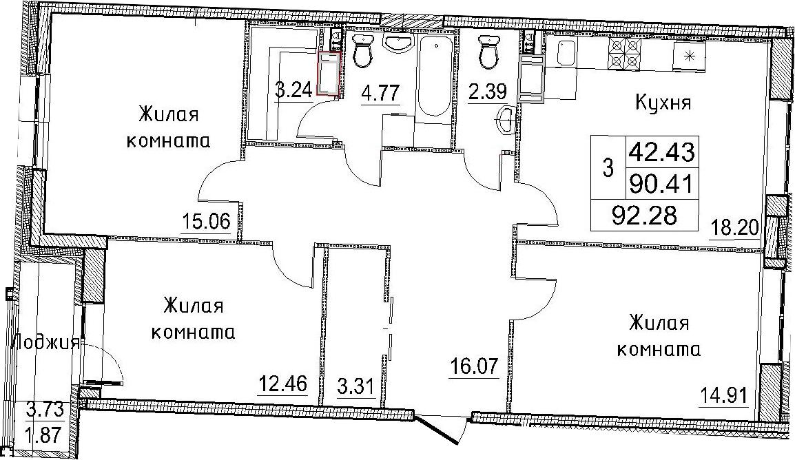 3-к.кв, 92.28 м²