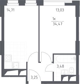 2Е-к.кв, 34.47 м², от 6 этажа