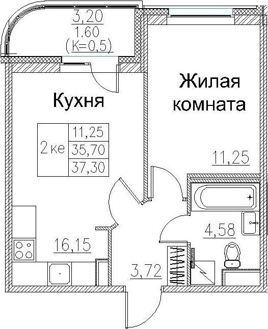 2Е-к.кв, 37.3 м², 2 этаж