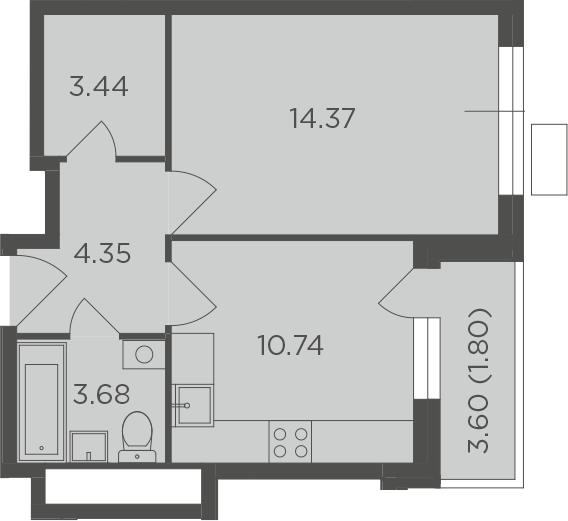 1-к.кв, 38.38 м², 7 этаж