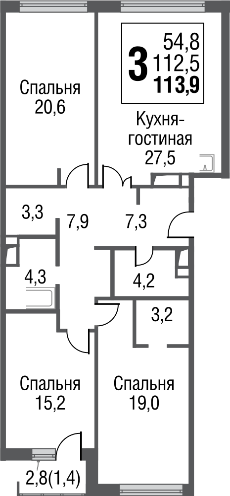 4Е-комнатная квартира, 113.6 м², 14 этаж – Планировка