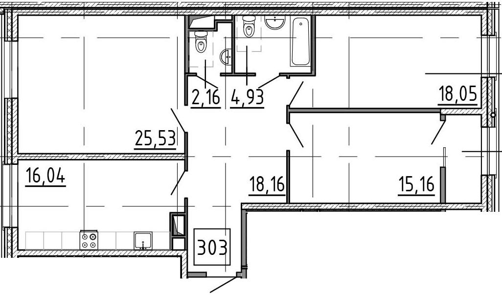 3-к.кв, 103.57 м²