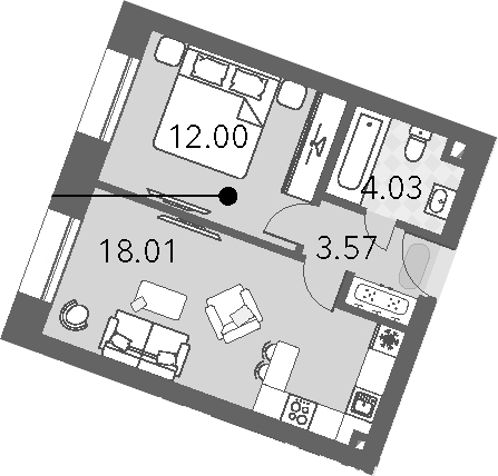 2Е-к.кв, 37.61 м², от 5 этажа