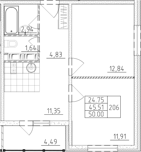 2-к.кв, 50 м²