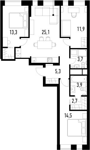 4Е-комнатная, 80.4 м²– 2