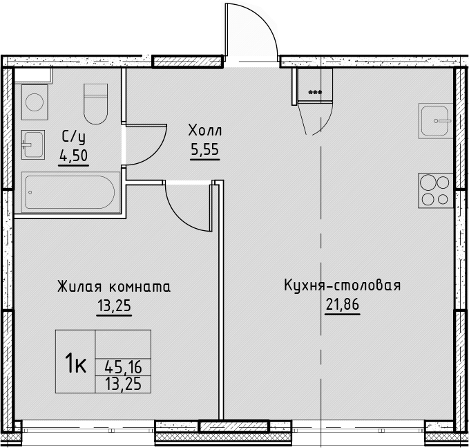 2Е-к.кв, 45.16 м², от 7 этажа