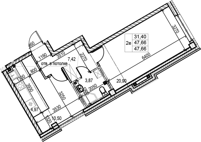 2Е-комнатная, 47.66 м²– 2