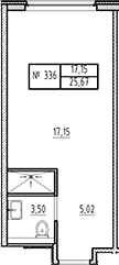 Студия, 25.67 м²– 2