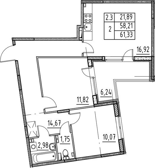 3Е-комнатная, 58.21 м²– 2