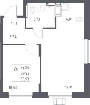 2Е-комнатная, 39.93 м²– 2
