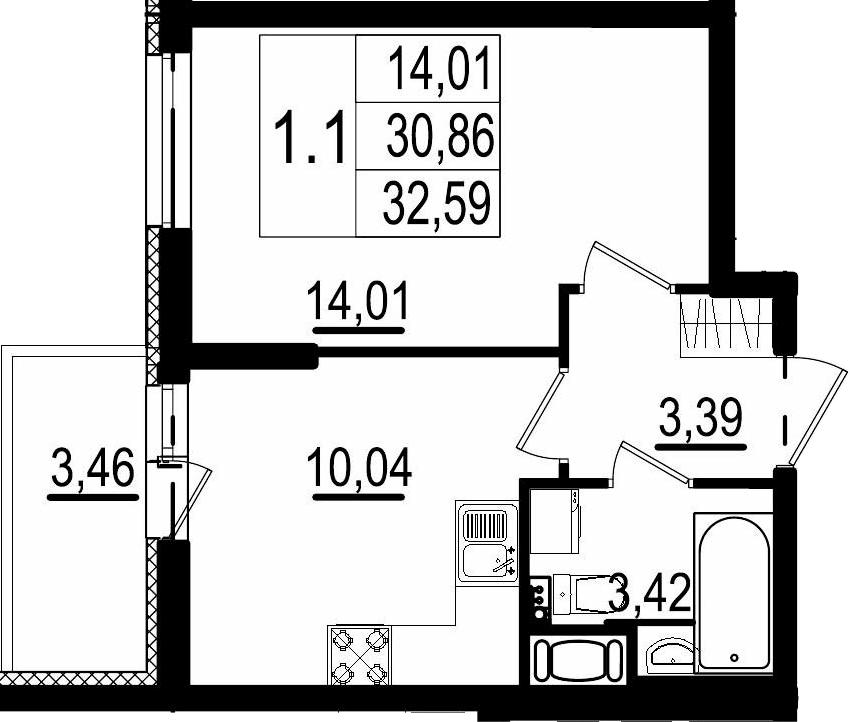 1-к.кв, 30.86 м²