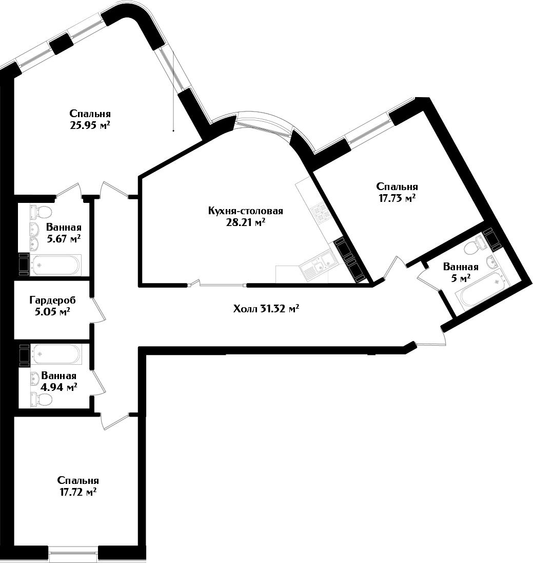 4Е-к.кв, 141.59 м², 2 этаж