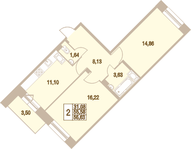 2-к.кв, 56.63 м²
