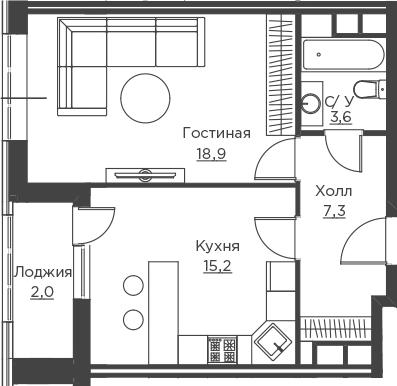 1-комнатная, 47 м²– 2