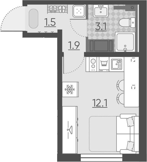 Студия, 18.6 м²– 2
