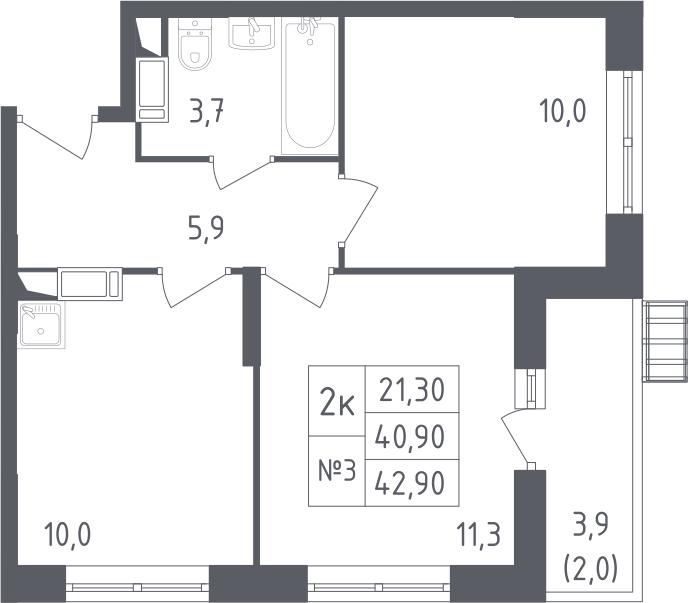 2-комнатная, 42.9 м²– 2