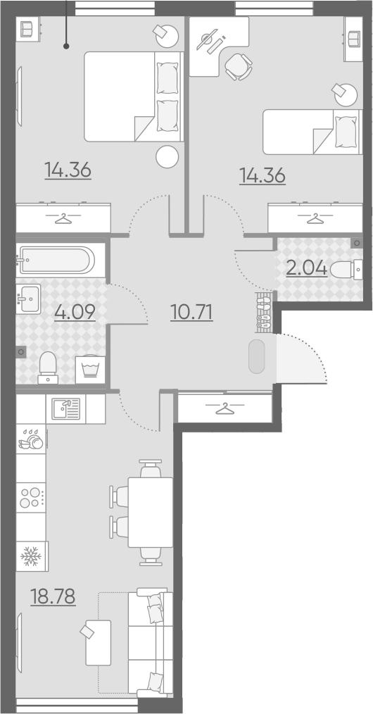 3Е-комнатная, 64.34 м²– 2