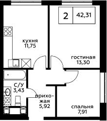 2-к.кв, 42.31 м², 24 этаж