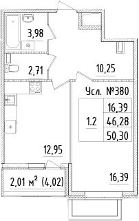 1-к.кв, 50.25 м²