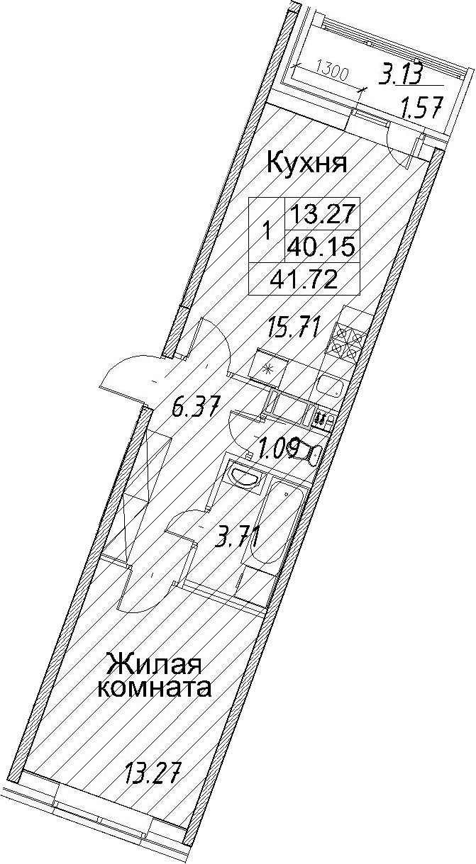 2-к.кв (евро), 43.29 м²