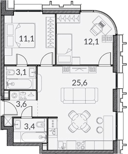 3Е-к.кв, 58.9 м²