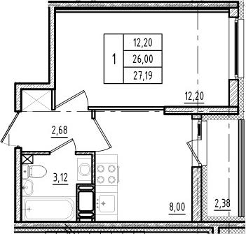 1-к.кв, 26 м², 3 этаж