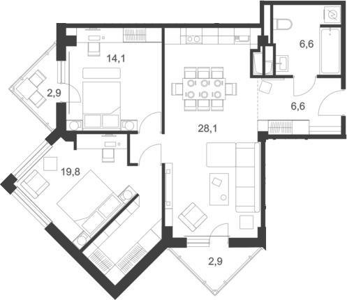 3Е-к.кв, 82.4 м², 6 этаж
