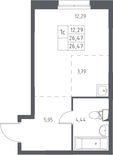 Студия, 26.47 м²