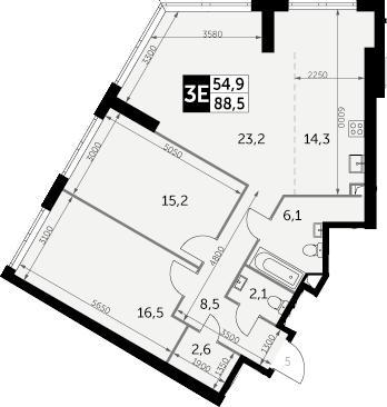 3-к.кв (евро), 88.5 м²