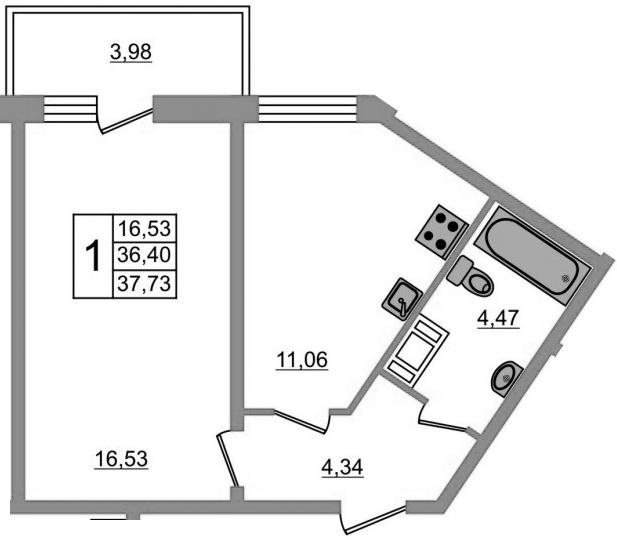 1-к.кв, 40.38 м²