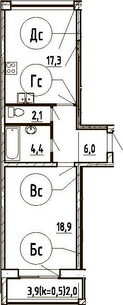2Е-к.кв, 50.7 м², 8 этаж