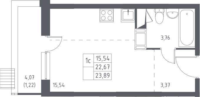 Студия, 23.89 м²