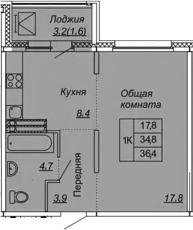 1-к.кв, 36.4 м², от 10 этажа