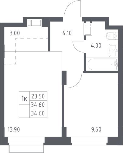2Е-к.кв, 34.6 м², 12 этаж