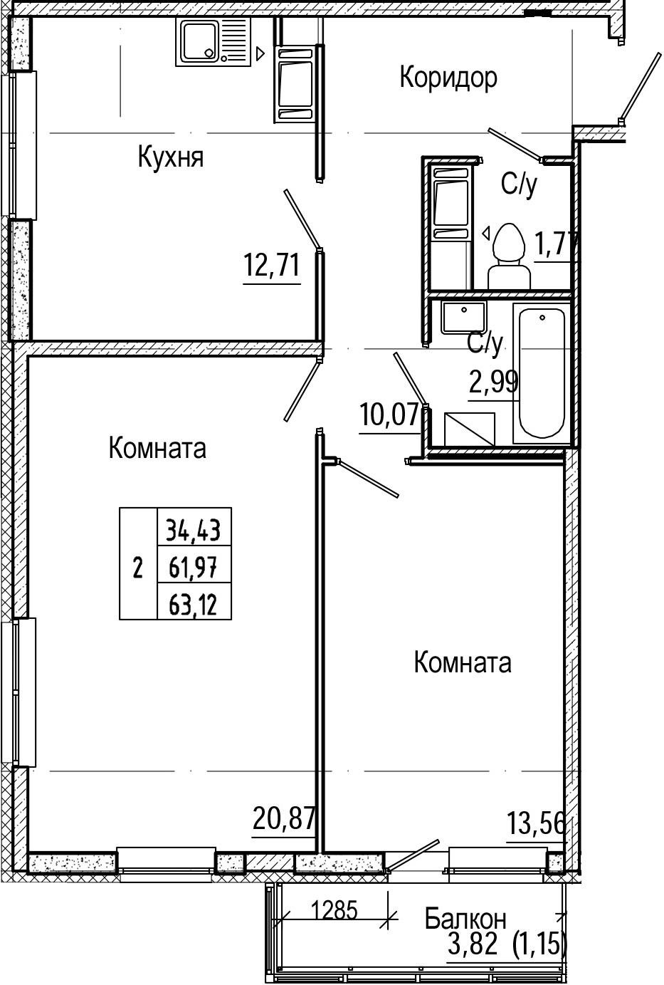 2-комнатная, 63.12 м²– 2