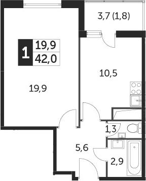 1-комнатная квартира, 41.9 м², 23 этаж – Планировка