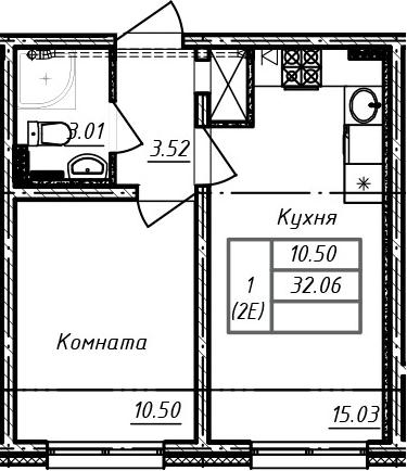 2-к.кв (евро), 32.06 м²
