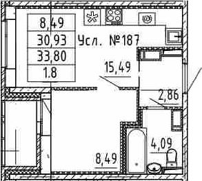 2Е-к.кв, 30.93 м²