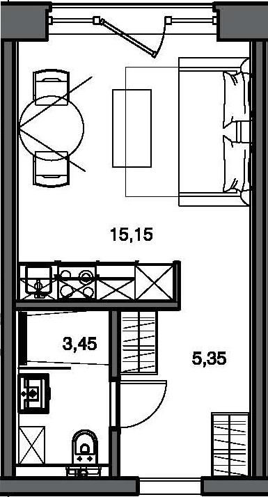 Студия, 23.84 м²