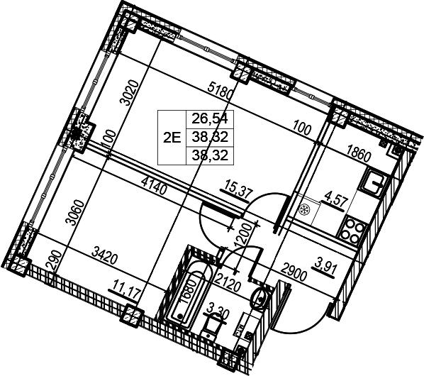 2Е-к.кв, 38.32 м², 2 этаж